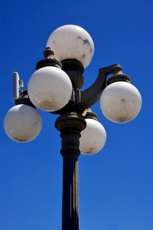 a street lamp blue sky   in colonia del sacramento  uruguay