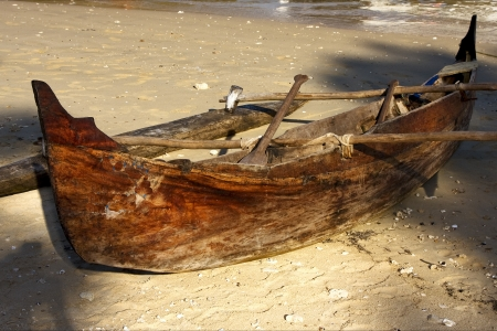 oar:  nosy be  madagascar boat oar   and coastline Stock Photo