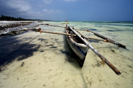 boat beach rope sand and sea in zanzibar coastline photo
