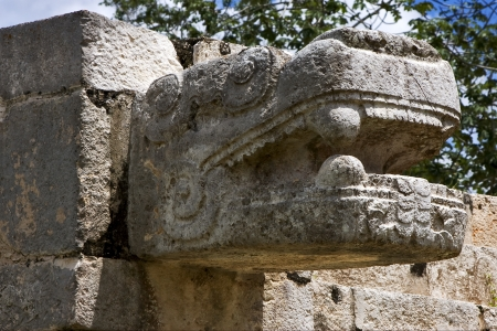 mexico  skull snake  the  abstract incision in the old temple of chichen itza photo