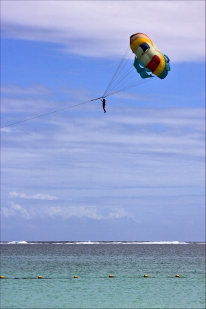 water skiing:  parachute mauritius belle mare water skiing in the indian ocean