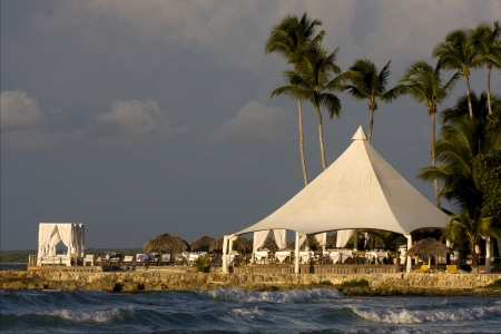 republica dominicana tourist tent coastline  peace marble and relax near the caribbean beach  photo