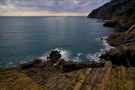 amore: clouds abstract rock water   and coastline in via dell amore riomaggiore manarola italy