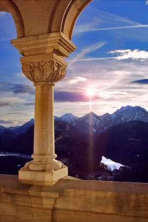 sun old marble and  column reflex in Neuschwanstein  germany 写真素材
