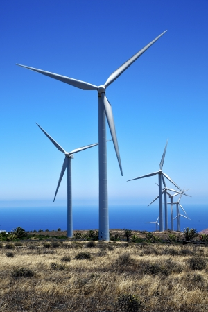 wind turbines and the sky in the isle of lanzarote spain africa photo