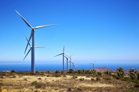 �oliennes et le ciel dans l'�le de Lanzarote Espagne afrique Banque d'images