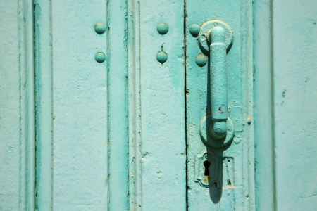 spain canarias brass brown knocker in a green closed wood  door  lanzarote abstract  photo