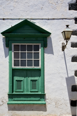 street lamp lanzarote abstract  window   green in the white spain  photo