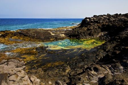 paysage pierre rocher ciel nuage eau plage de Lanzarote Espagne isle
