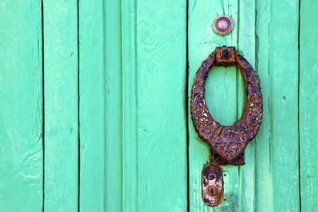 knocker lanzarote abstract door wood in the green spain