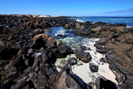 sky light  beach water  in lanzarote  isle foam rock spain landscape  stone  cloud     photo