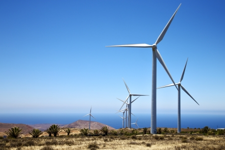 africa wind turbines and the sky in  isle of lanzarote spain