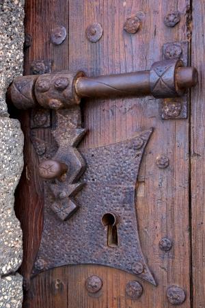 castle lock spain knocker lanzarote abstract door wood in the red brown Stock Photo - 22374818