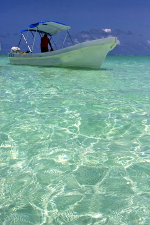 tent in the  blue lagoon relax and boat   of sian kaan in mexico Stock Photo - 22524767