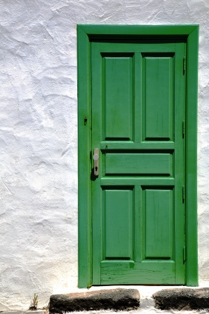 spain  piece of colorated green wood as a window door in lanzarote   photo