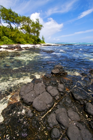 cocos:  blue bay foam footstep indian ocean some stone in the island of deus cocos in mauritius  Stock Photo