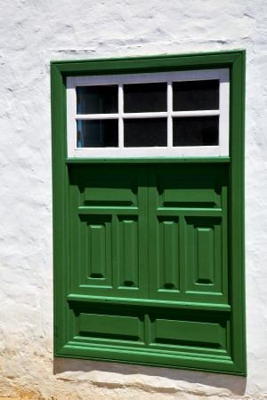 lanzarote abstract  window   green in the white spain photo