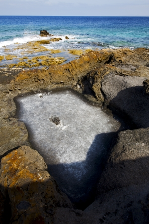 in lanzarote  isle foam rock spain landscape  stone sky cloud beach   water   photo