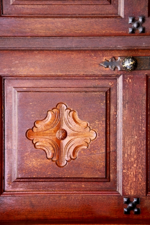 spain knocker lanzarote abstract door wood in the red brown   photo