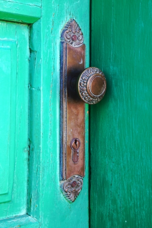 spain   brass knocker lanzarote abstract door wood in the green  photo