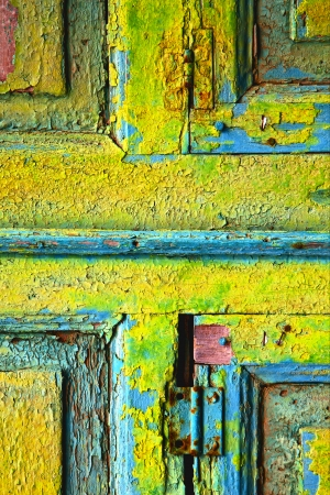 a piece of colorated wood as a window in lanzarote spain photo
