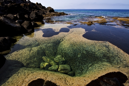 musk pond rock stone sky  water  coastline and summer in lanzarote spain photo