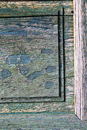 a green piece of wood  brown knocker and wood  door cairate varese italy photo