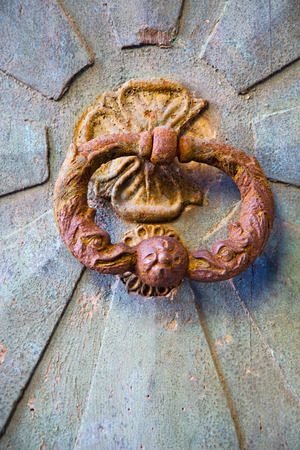 a brass brown knocker and wood  door castiglione olona varese italy photo