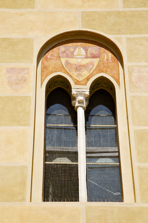 curch: tradate varese italy abstract  window monument curch mosaic in the yellow
