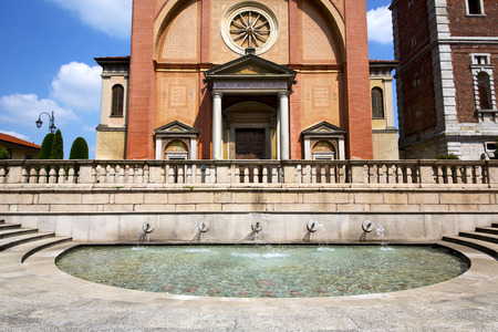 lonate pozzolo varese  church italy the old wall terrace   bell tower fountain photo