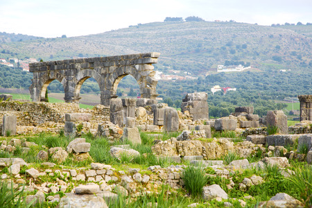 volubilis in morocco africa the old roman deteriorated monument and site photo