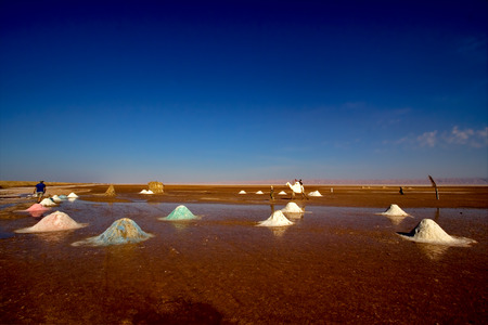 lonelyness: the salt lake desert in tunisia,chott el jerid Stock Photo