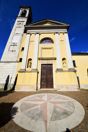 church bell: Church solbiate arno varese italy the old wall terrace church bell tower plant Stock Photo