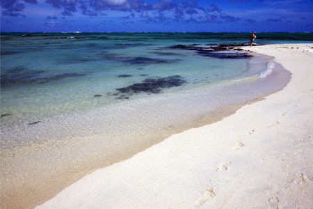 footstep: beach and  footstep in ile du cerfs mauritius