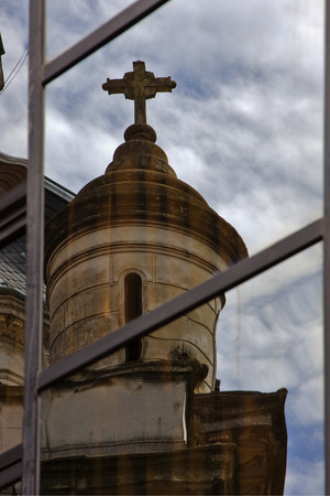 reflex of a church in a window  and the centre  buenos aires argentina photo