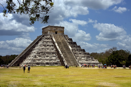 itza: the stairs of chichen itza temple,kukulkan ,el castillo,quetzalcoatl
