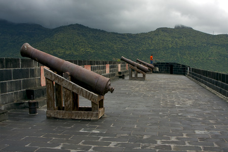 fortification: the fortification and a cannon in fort adelaide mauritius