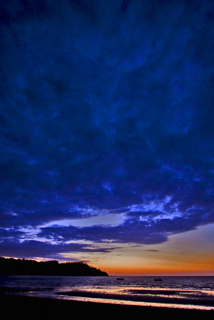 sunset near a mountain in nosy be madagascar Stock Photo