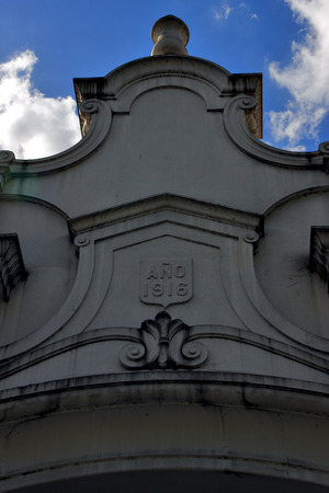 crux: sky cloud cross at top in old church  in the center of buenos aires argentina Stock Photo