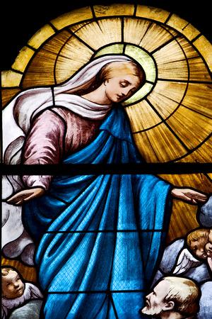 colored window: the colored window in the church of portofino italy