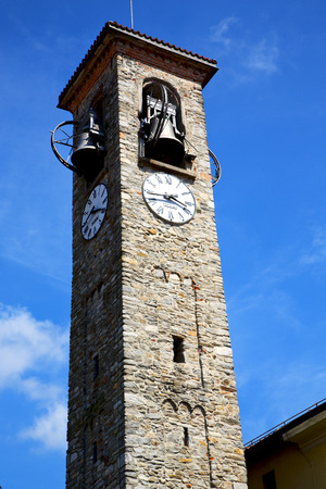 sunny day: besnate old abstract in  italy   the   wall  and church tower bell sunny day