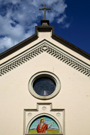 church bell: rose window church abbiate varese italy the old wall terrace church bell tower Stock Photo