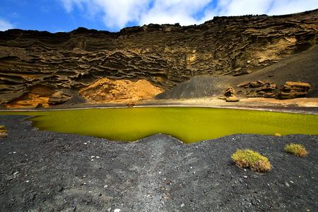 golfo: musk pond rock stone sky  water  coastline and summer in el golfo lanzarote spain Stock Photo