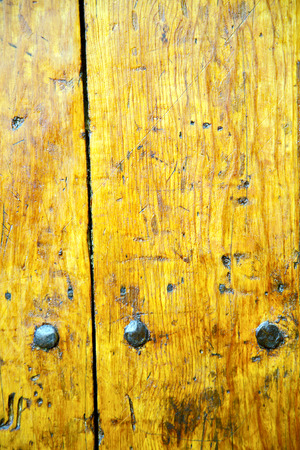rusty nail: stripped paint in the blue  wood door and rusty   nail