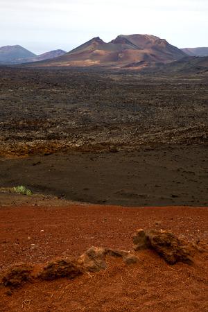 timanfaya: volcanic timanfaya  red rock stone sky  hill and summer in los volcanes lanzarote spain plant flower bush