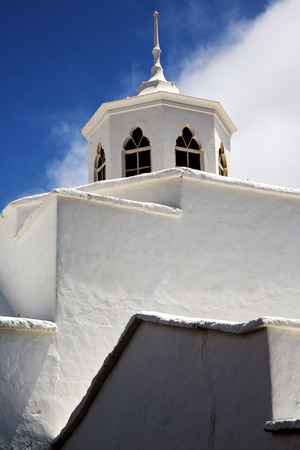 church bell: lanzarote  spain the old wall terrace church bell tower in teguise arrecife