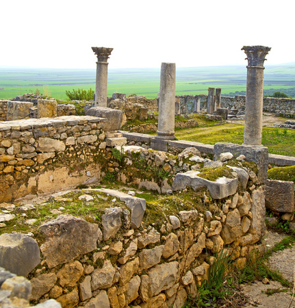 deteriorated: volubilis in morocco africa the old roman deteriorated monument and site Stock Photo