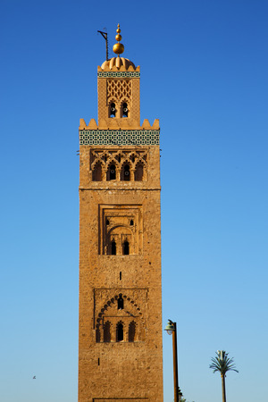 maroc: in maroc africa      minaret  and the blue     sky Stock Photo