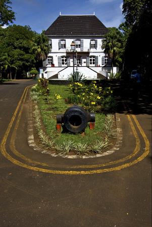 naval: zanzibar mahebourg naval museum flower and bush Editorial
