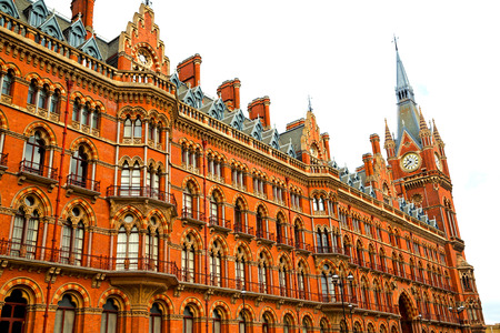 old architecture in london england windows and brick exterior   wall